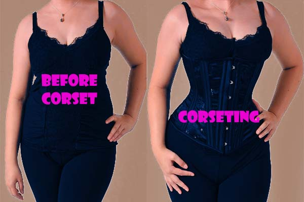 before and after waist corset shaping example 1